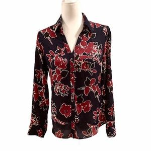 Express Portifino Black / Red Floral Long Sleeve